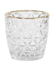 Photophore en verre Adore, 3élém., Transparent, couleur dorée