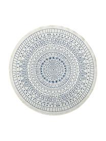 Alfombra redonda reversible de interior/exterior Porto, Azul, crema, Ø 140 cm (Tamaño M)