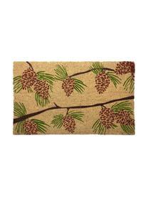 Fußmatte Pine Cones, Oberseite: Kokosfasern, Unterseite: PVC, Beige, Grün, Rot, Braun, 43 x 70 cm