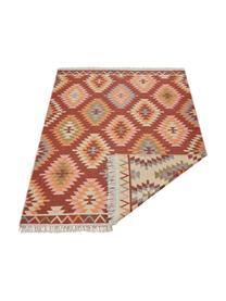 Kelim-Wendeteppich Tawi aus Baumwolle, 100% Baumwolle, Rot, Orange, Blau, Beige, Rosa, B 160 x L 220 cm (Größe M)