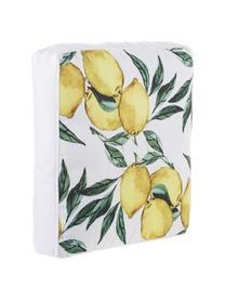 Hohes Sitzkissen Citrus, Bezug: 100% Baumwolle, Gelb, Grün, Weiß, 40 x 40 cm