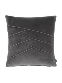 Samt-Kissen Pintuck in Anthrazit mit erhabenem Strukturmuster, mit Inlett, Bezug: 55% Rayon, 45% Baumwolle, Webart: Samt, Grau, 45 x 45 cm