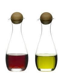 Komplet dozowników na ocet i oliwę ze szkła dmuchanego Eden, 2 elem., Szkło dmuchane, drewno dębowe, Transparentny, drewno dębowe, Ø 8 x W 19 cm