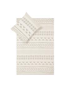 Gewassen katoenen dekbedovertrek Kohana in boho stijl, Weeftechniek: perkal Draaddichtheid 180, Ecru, zwart, 200 x 200 cm + 2 kussen 60 x 70 cm