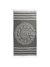 Hamamdoek Shiva, Katoen lichte stofkwaliteit, 210g/m², Zwart, grijs, 90 x 180 cm