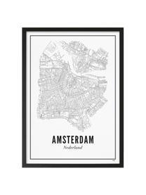 Zarámovaný digitální tisk Amsterdam, Obraz: černá, bílá Rám: matná černá