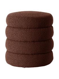 Sgabello in tessuto bouclé marrone Alto, Rivestimento: 100% poliestere (pellicci, Struttura: legno di pino massiccio, , Bouclé marrone, Ø 42 x Alt. 47 cm