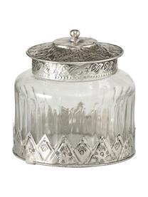 Aufbewahrungsglas Cosa im Vintage Style, Glas, Metall, Transparent, Ø 12 x H 13 cm