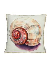 Outdoor-Kissen Snail mit kleinen bestickten Perlen, mit Inlett, Beige, Mehrfarbig, 45 x 45 cm