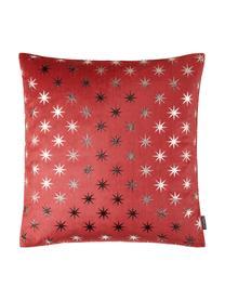 Federa arredo con motivo a stelle Cosmos, Poliestere, Rosso, argento, Larg. 40 x Lung. 40 cm