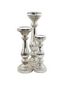 Kerzenhalter Royal, Glas, beschichtet, Silberfarben, Ø 11 x H 30 cm