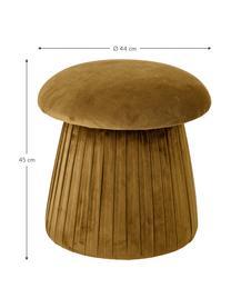 Pouf in velluto Roberta, Rivestimento: velluto di poliestere 40., Struttura: pannello di fibra a media, Marrone, Ø 44 x Alt. 45 cm