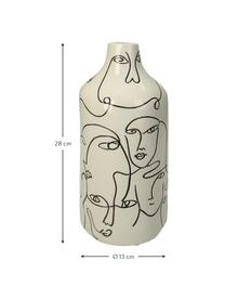 Vaso in terracotta Faces, Terracotta, Bianco latteo, nero, Ø 13 x Alt. 28 cm