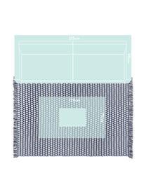 Dywan wewnętrzny/zewnętrzny z frędzlami Morty, 100% poliester (tworzywo PET z recyklingu), Ciemnoniebieski, złamana biel, S 160 x D 230 cm (Rozmiar M)