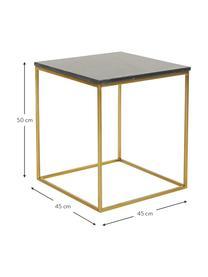 Marmor-Beistelltisch Alys, Tischplatte: Marmor, Gestell: Metall, beschichtet, Tischplatte: Schwarzer Marmor Gestell: Goldfarben, glänzend, 50 x 50 cm