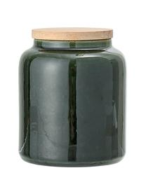 Handgemachte Aufbewahrungsdose Joelle, Dose: Steingut, Deckel: Akazienholz, Silikon, Dunkelgrün, Ø 10 x H 12 cm