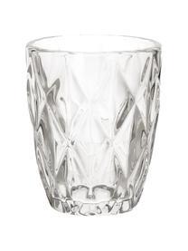 Waterglazenset Diamond met structuurpatroon, 6-delig, Glas, Transparant, Ø 8 x H 10 cm