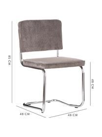 Kordsamt-Freischwinger Kink in Grau, Bezug: Kordsamt (88% Nylon, 12% , Rahmen: Metall, verchromt, Grau, B 48 x T 48 cm