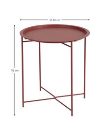 Tavolino-vassoio in metallo Sangro, Metallo verniciato a polvere, Rosso, Ø 46 x Alt. 52 cm