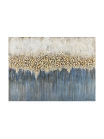 Handgeschilderde canvasdoek Danish Arts I, Afbeelding: olieverf op linnen (300 g, Wit, blauw, goudkleurig, 120 x 90 cm