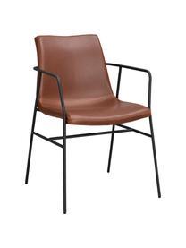 Braune Armlehnstühle Huntington, 2 Stück, Bezug: Kunstleder, Gestell: Schichtholz, Beine: Metall, beschichtet, Braun, Schwarz, B 54 x T 58 cm