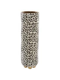 Große handbemalte Vase Fifi aus Keramik, Keramik, glasiert, Beige, Schwarz, Goldfarben, Ø 12 x H 34 cm