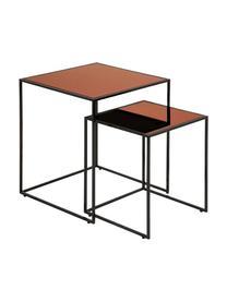 Beistelltisch 2er-Set Bolton mit getönter Glasplatte, Gestell: Stahl, pulverbeschichtet, Tischplatte: Sicherheitsglas, beschich, Schwarz, Kupferfarben, Sondergrößen