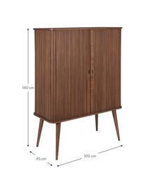 Highboard Barbier im Retro Design mit Schiebetüren, Korpus: Mitteldichte Holzfaserpla, Einlegeböden: Hartglas, Walnussholz, 100 x 140 cm