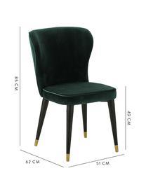 Klassischer Samt-Polsterstuhl Cleo, Bezug: Samt (Polyester) Der hoch, Beine: Metall, lackiert, Samt Dunkelgrün, B 51 x T 62 cm