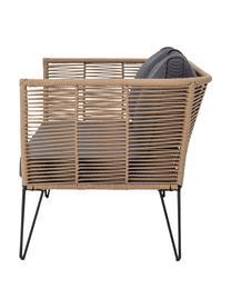 Tuin loungebank Mundo met kunststoffen vlechtwerk (2-zits), Frame: gepoedercoat metaal, Zitvlak: polyethyleen, Bruin, B 175  x D 74 cm