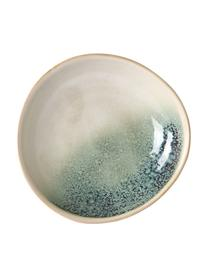Handgemachte Schalen 70's, 2 Stück, Keramik, Grüntöne, Beige, 21 x 5 cm
