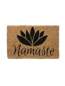 Fußmatte Namaste, Oberseite: Kokosfaser, gebleicht, Unterseite: Kokosfaser, Beige, Schwarz, 40 x 60 cm