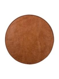 Rundes Leder-Tischset Lia, Leder, Braun, Ø 40 cm