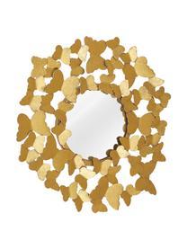 Runder Wandspiegel Butterfly mit Goldrahmen in Antik-Optik, Rahmen: Metall, Rückseite: Mitteldichte Holzfaserpla, Spiegelfläche: Spiegelglas, Goldfarben, Ø 92 cm