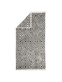 Kelimteppich Mozaik in Schwarz/Weiß, 90% Baumwolle, 10% Polyester, Schwarz, B 120 x L 180 cm (Größe S)