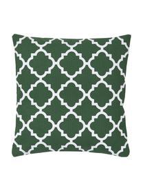 Kissenhülle Lana in Dunkelgrün mit grafischem Muster, 100% Baumwolle, Dunkelgrün, Weiß, 45 x 45 cm