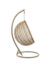 Fotel wiszący z metalową ramą Round, Brązowy, biały, S 119 x W 193 cm