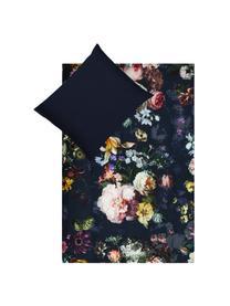 Katoenen dekbedovertrek Fleur, Donkerblauw, 140 x 200 cm + 2 kussen 60 x 70 cm