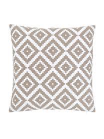 Kussenhoes Miami in taupe/wit, 100% katoen, Beige, 45 x 45 cm