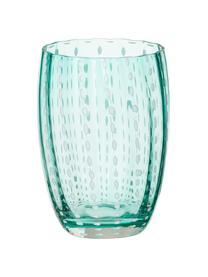 Mundgeblasene Wassergläser Perle, 6er-Set, Glas, Transparent, Weiß, Aqua, Bernsteinfarben, Pastellviolett, Rot und Grün, Ø 7 x H 11 cm