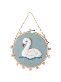 Wandobjekt Swan, Baumwolle, Kiefernholz, Blau, Mehrfarbig, Ø 20 x T 1 cm