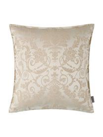 Schimmernde Kissenhülle Astoria mit Ornament-Stickerei, 75% Polyester, 25% Baumwolle, Beige, 40 x 40 cm