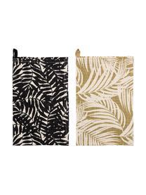 Baumwoll-Geschirrtücher Ivora mit tropischem Motiv, 2er-Set, 100% Baumwolle, Mehrfarbig, 45 x 70 cm