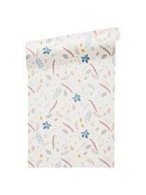 Carta da parati Pressed Leaves, Carta, Crema, rosa, blu, grigio, giallo, Larg. 53 x Lung. 1005 cm