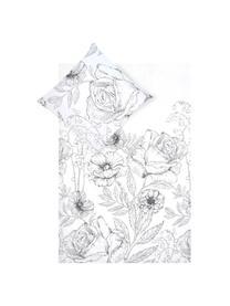 Baumwollperkal-Bettwäsche Keno mit Blumenprint, Webart: Perkal Fadendichte 180 TC, Weiß, Grau, 240 x 220 cm + 2 Kissen 80 x 80 cm
