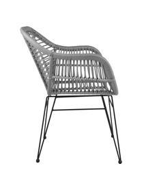 Krzesło z podłokietnikami z polirattanu Costa, 2 szt., Stelaż: metal malowany proszkowo, Szary, nogi: czarny, S 59 x G 58 cm
