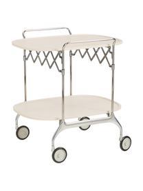 Składany wózek barowy z metalu Gastone, Stelaż: metal lakierowany, Kremowy, stal, S 68 x W 70 cm