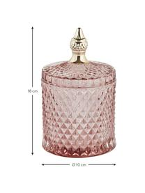 Opbergpot Miya, Glas, Roze, transparant, goudkleurig, Ø 10 x H 18 cm