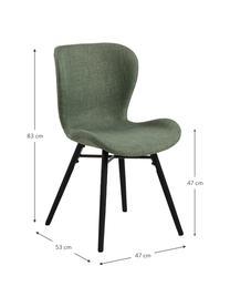 Polsterstühle Batilda in Grün, 2 Stück, Bezug: 100% Polyester, Beine: Gummiholz, beschichtet, Grün, Schwarz, B 47 x T 53 cm