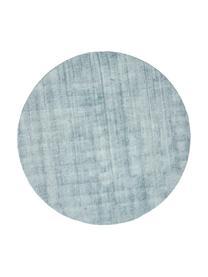 Rond viscose vloerkleed Jane in ijsblauw, handgeweven, Bovenzijde: 100% viscose, Onderzijde: 100% katoen, IJsblauw, Ø 200 cm (maat L)